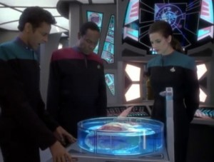 Bashir, Sisko and Dax look at the lump.