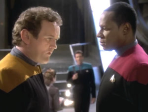 O'Brien tries to get out of the away mission.